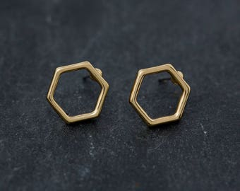 Tiny Hexagon Earrings | Minimal earrings | Minimalist | Contemporary | Modern | Small earrings | Simple Earrings | Gift For Her | Gift Idea
