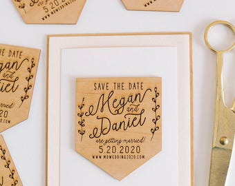 Custom Save the Date Wood Magnet, Wooden Invitation, Engraved Wood Magnet, Wedding Favor, Wedding Invitation, Wedding Cards