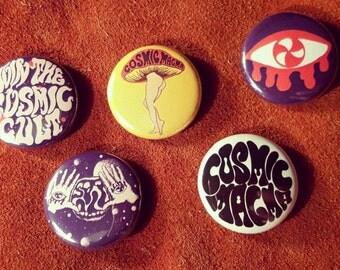 Cosmic Magma 3 épingles de bouton de votre choix! vintage badges 60 s 70 s champignon oeil