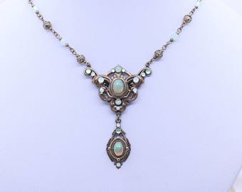 Art Nouevau  style Opal and brass necklace