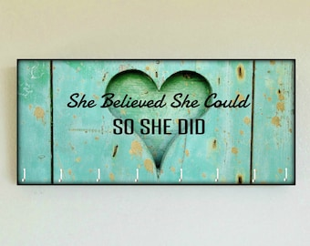 "Race Medal Holder / Race Medal Hanger ""She Believed She Could So She Did"" Carved Heart Wall Mounted Wood Medal Organizer CUSTOMIZATiON Avail"
