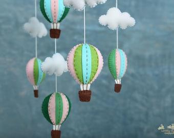 green hot air balloons baby mobile - baby mobile - green nursery decor