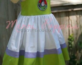 3T RTS Lil Buzz strappy sundress, Twirly Buzz Lightyear Inspired, Dress Up, Every Day Play Wear, Handmade, Toy Story birthday
