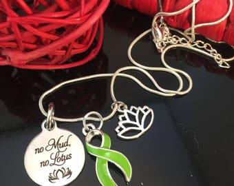 Non-Hodgkins Lymphoma Necklace - Lime Green Charm - No Mud No Lotus Pendant - non hodgkins survivor gift - Lyme Disease / Lymphoma Warrior