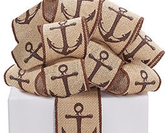 BURLAP ANCHOR Wired Ribbon -2 yards ,Beach Wedding, Nautical Wreath Supply, Coastal WREATH, Navy , Floral Cruise Packaging Supply, Gifts,Bow