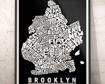 Brooklyn map art, Brooklyn art print, Brooklyn typography map, Brooklyn neighborhood map with title, several color options