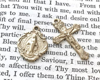 Crucifix - Miraculous Medal - Small Medal Set - Bronze, Sterling, or Yellow Bronze - Reproduction - Made in the USA (244/415)