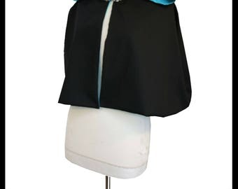 High Quality Black Poly Cotton Short Cloak/ Cape lined with Peacock Blue Countess Satin. Ideal for LARP Medieval Gothic Alternative Hoodie.