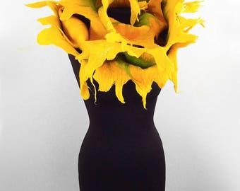 DANDELION Scarf Felted Scarf Flower Scarf FAIRY SCARF Felted Flower Wrap Nunofelt Scarf