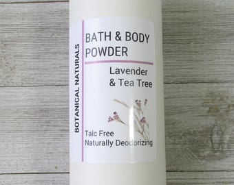 Lavender & Tea Tree Powder, Talc Free Bath Powder, Deodorizing Foot Powder