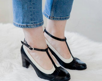 Ona Charol (hight heel) Leather vintage style t-strap woman shoes. Black patent and ivory leather. Dancing, Comfortable shoe