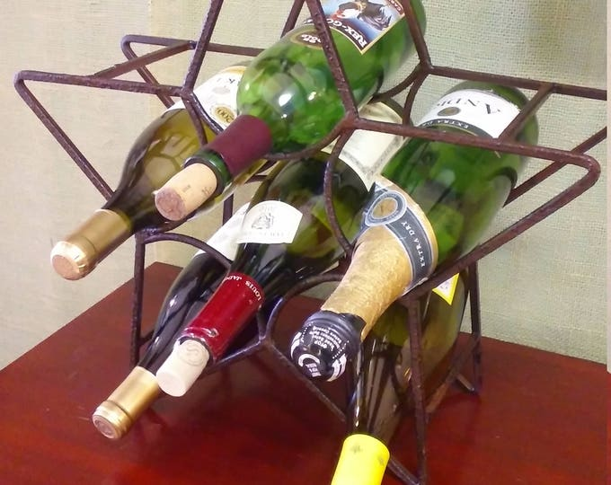 Featured listing image: Iron Star Wine Bottle Rack, Holder. Holds 6 Bottles. Industrial, Rustic, Farm House Bar or Home Decor. Free Shipping!!