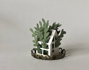 Mini Paper Greenhouse, Paper Plant, Miniature Paper House, Gift for Mum, Paper Anniversary Gift, Paper Art, Gift for her