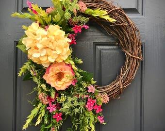 Hydrangea Wreath, Spring Hydrangea Wreath, Yellow Hydrangea, Spring Door Decor, Yellow Wreaths, Gift for Her, Housewarming Gift, Yellow Pink