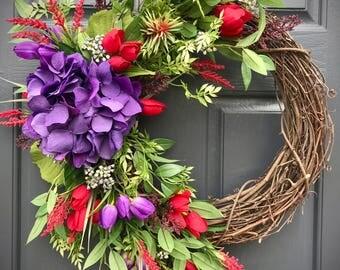 Spring Wreaths, Hydrangea Wreaths, Spring Hydrangea Wreath, Purple Red, Door Wreaths, Door Decor Spring, Purple Red Wreath, Floral Wreaths