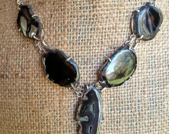 Agate Necklace, Black Agate Necklace, Agate Slab Necklace, Drusy Necklace, Crystal Jewelry, Vintage Agate Necklace