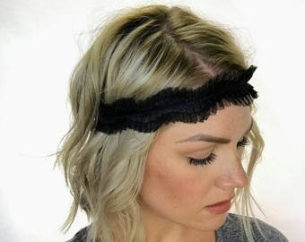The Simone - Black Pleated Satin Ribbon and Tulle Headband