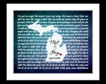 Michigan or ANY State Song Lyrics Print, Custom Gift for Bride and Groom Personalized Anniversary Present Michigan Map Michigan Wedding Mi