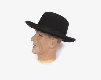 Vintage Borsalino Western HAT / Rare Black Fur Felt Italian Cowboy Hat 59 7 3/8