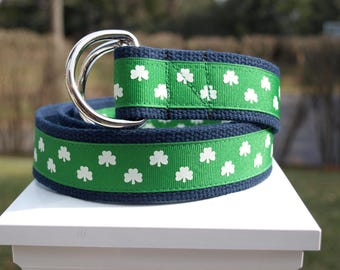 Shamrock Belt / Irish Belt / St Patricks Day Belt / Green Belt / Canvas Belt / Mens Belt / Ribbon Belt / Preppy Belt / Mens Sizes 30 - 54