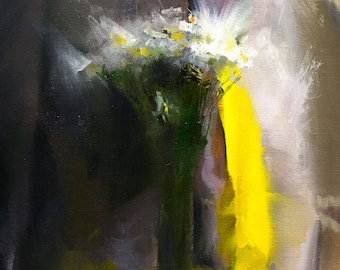 Contemporary art, Oil Painting on Canvas, Still life with flowers in a vase, White flower painting, Floral artwork