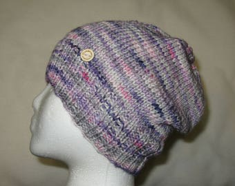 100% Wool Knit Hat - Purples, greys, and pink