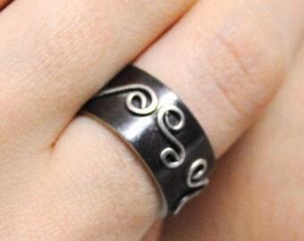 Statement Ring. Oxidized Ring. Handmade Silver Ring.  Sterling Silver Ring. Size 7. Unique ring. OOAK Ring.  Artisan jewelry