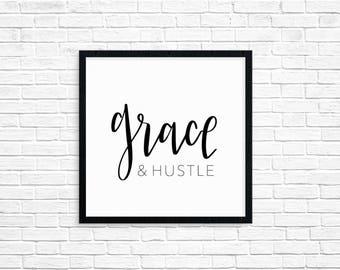 Grace & Hustle   Digital Download   Black and White   Printable   Home Decor   Girl Boss Decor   Creative Space   Digital   Grace   Hustle