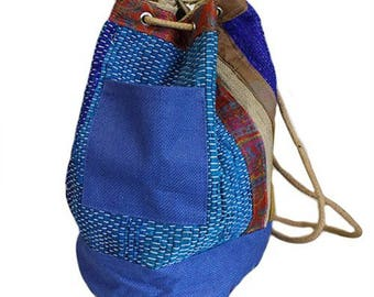 GIFT IDEA: NEPALESE Woven Duffle Bag, Satchel, Backpack, Rucksack -100% Cotton -in 3 colours - Red, Blue and Green