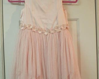 Little Girls Vintage Dress Pink Satin and Lace