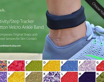 Floral Print Activity/Step Tracker 100% Cotton Velcro Ankle Band – Encompasses Original Straps and Exposes Sensors for Skin Contact