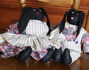 Black bunnies, handmade Bunnies, Handmade Easter Bunny, Stuffed Animal, Farmhouse Decor, Country Decor, pair of black bunnies, boy & girl
