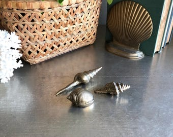 vintage solid brass seashell set small beach decor