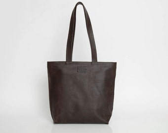 Espresso Brown Leather Tote, Book Bag, Personalized Bag, Leather Tote with ZIPPER, Carry On Tote Bag, Handmade Leather Bag, Woman Bag