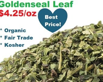 Organic GOLDENSEAL LEAF - 1 oz - Hydrastis canadensis by the ounce, fair trade, kosher, bulk dried herbs