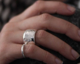 HAMMERED SILVER RING wide band unisex design by jac and hugo Sydney