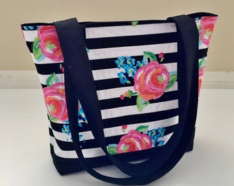 Black and White Tote Bag, Floral Tote Bag, Pink Tote Bag, Quilted Tote Bag, Shoulder Bag, Carry All Bag