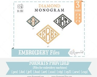 3 sizes Diamond Monogram Font: Embroidery Design/ Files for instant download for embroidery machines Diamond BX Font