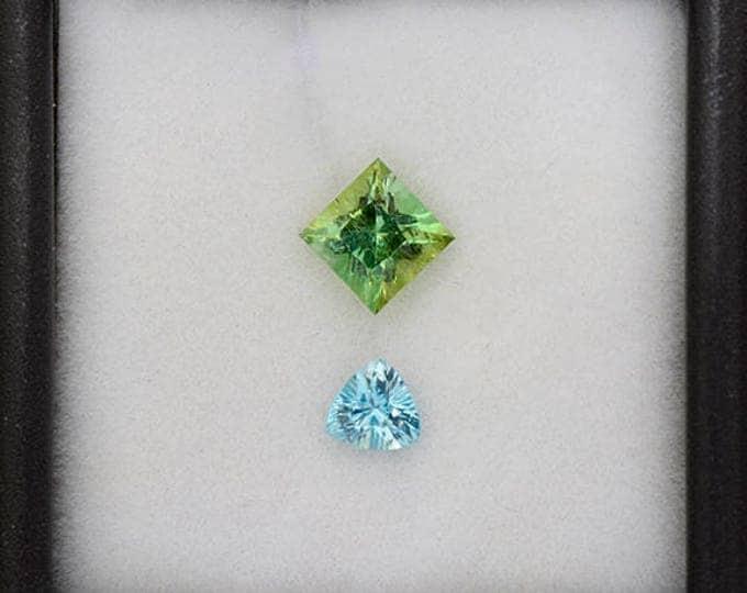 Brilliant Blue Zircon and Green Tourmaline Gemstone Set 1.26 tcw.