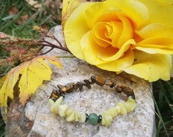Earth Elemental Bracelet Combo , Chakra Bracelet, Tigers Eye, Jade, Hematite, Aventurine Crystal Bracelet