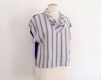 cowl neck top handmade dina louise 80s style avant garde top summer top rayon top striped sleeveless blouse