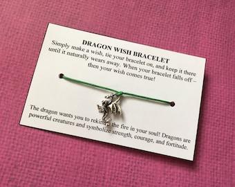 Dragon Wish Bracelet - Wish Bracelet - Dragon Bracelet - Party Favor - Wishing Bracelet - Dragon Charm Bracelet - Encouragement Gift