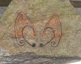 Elf Ear Cuffs - Halloween - Black and Orange Ear Cuffs - Elven Jewelry - Pixie Ears - Fairy Ears - Faery Ears