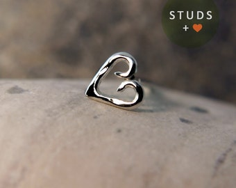Cartilage Heart Sterling Silver - Cartilage Earring - Tragus Silver - Tragus Earring - Cartilage Silver - Cartilage Ring -  Nose Studs