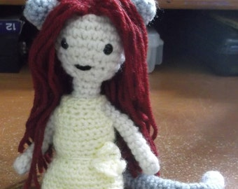 Crochet cat girl doll, doll amigurumi, posable doll, doll with cat ears and tail, doll, ready to ship