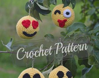Crochet Pattern, Emoji Keychain, Crochet Emojis PDF, Amigurumi Pattern, Mini Emoji Stuffies, Emoji Keyring, Stuffed Emojis Toy