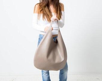 Gray Genuine Italian Leather  hobo bag, over size, Laptop Bag, Everyday Bag, Handbag, Large,Roomy, Slouchy, shoulder bag, big bag, hippiebag
