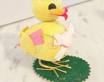 Felt Easter Chick, Easter Decor, Vintage Easter Duck, Easter Basket, Easter Display, Made in Japan, 1960s Easter