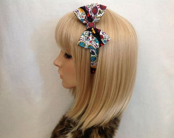Sugar skull print headband hair bow rockabilly psychobilly black gothic Lolita cute pin up girl vintage retro pretty dias de los muertos