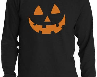 Orange Jack O' Lantern Pumpkin Face Halloween Costume Long Sleeve T-Shirt
